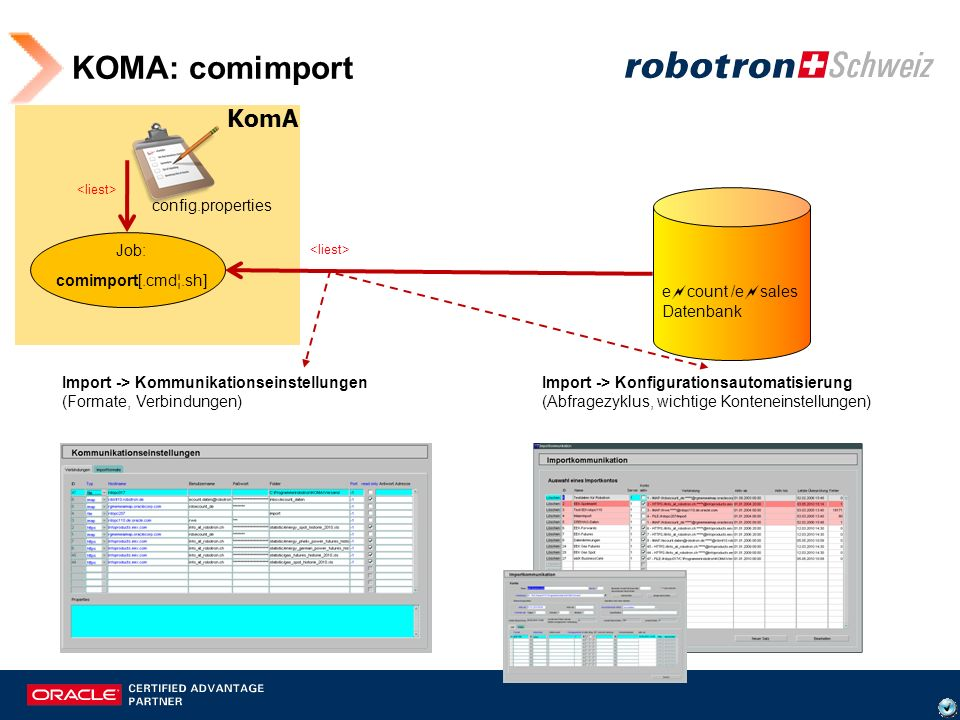 KOMA: comimport KomA config.properties Job: comimport[.cmd¦.sh]